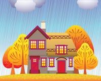 Cabaña del otoño ilustración del vector