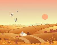 Cabaña del país en otoño ilustración del vector