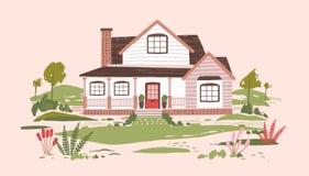 Cabaña del verano o casa residencial suburbana de dos pisos hermosa con el pórtico rodeado por la naturaleza hermosa y ilustración del vector