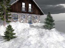 Cabaña en el top de la montaña nevosa Foto de archivo libre de regalías