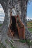 Cabaña en el tronco de un álamo viejo Imagen de archivo