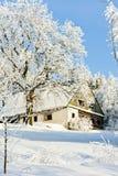 Cabaña en invierno Foto de archivo libre de regalías