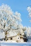 Cabaña en invierno Fotografía de archivo libre de regalías