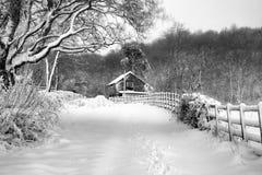 Cabaña en la nieve foto de archivo libre de regalías