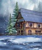 Cabaña en un bosque del invierno Imágenes de archivo libres de regalías
