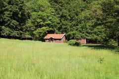 Cabaña en un prado al borde de un bosque Imagen de archivo