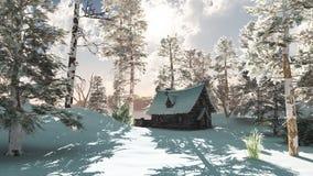 Cabaña norteña del invierno en nieve libre illustration