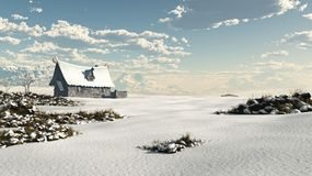 Cabaña noruega de la fantasía del invierno en un Nevado Landsc stock de ilustración