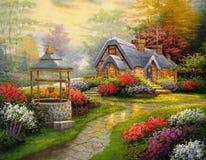 Cabaña original de la pintura al óleo Foto de archivo