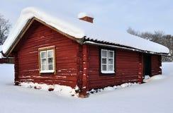 Cabaña roja Imagenes de archivo