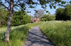Cabaña roja idílica del día de fiesta con el prado floreciente Foto de archivo libre de regalías