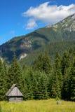 Cabaña rural en el valle de la montaña Fotos de archivo libres de regalías