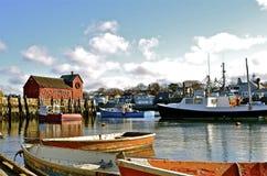 Cabaña y barcos de la langosta de la pesca Foto de archivo libre de regalías