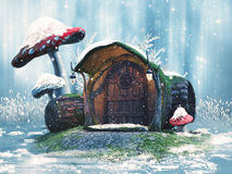 Cabaña y setas del invierno stock de ilustración