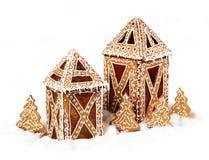 Cabañas de la linterna de las galletas del pan de jengibre Foto de archivo libre de regalías