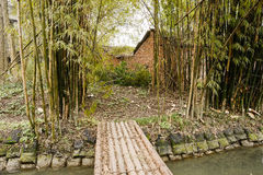 Cabañas de la orilla detrás de los grupos de bambú en primavera temprana Foto de archivo libre de regalías