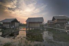 Cabañas en campo del arroz Fotos de archivo libres de regalías