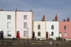 Cabañas en colores pastel de la terraza Fotos de archivo libres de regalías