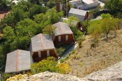 Cabañas para los turistas en Sudak, Crimea Fotografía de archivo libre de regalías