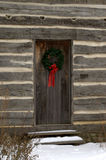 Cabaña de madera de la Navidad Foto de archivo libre de regalías