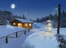 Cabaña del registro en una escena de la Navidad del invierno Imagen de archivo libre de regalías