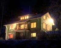 Cabaña en la noche del invierno Fotografía de archivo libre de regalías