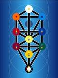 Cabala-jüdische Symbole auf blauem Hintergrund Stockfoto