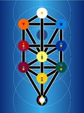Cabala Joodse Symbolen op Blauwe Achtergrond Stock Foto
