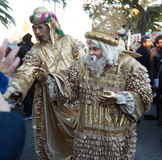 Cabalgata de Reyes Magos in all Spanish cities. Melchor. BARCELONA, SPAIN - JANUARY 5, 2016: Cavalcade of Magi in Barcelo royalty free stock image