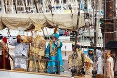 Cabalgata de Reyes Magos i Barcelona Arkivfoton