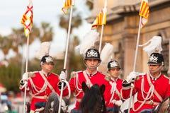 Cabalgata de Reyes Magos i Barcelona Arkivbilder