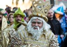 Cabalgata de Reyes Magos i Barcelona Arkivfoto