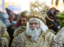 Cabalgata de Reyes Magos i Barcelona, Spanien Royaltyfria Foton