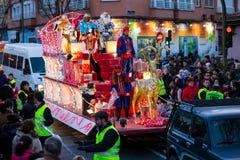 Cabalgata de Reyes Magos i Madrid Arkivfoto