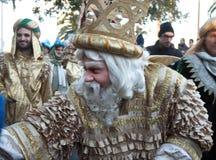 Cabalgata de Reyes Magos sammanlagt Barcelona, Spanien Arkivbilder