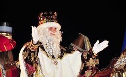 Cabalgata de unos de los reyes magos en Tarragona, España Imágenes de archivo libres de regalías