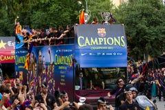 Cabalgata del omnibus de FC Barcelona imagenes de archivo