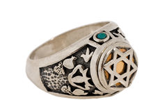 Cabalistic silver ring. Expressed on white background Royalty Free Stock Photo