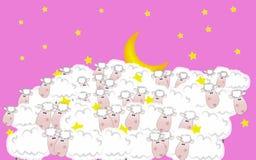 Caballa-cielo y luna, ilustración stock de ilustración