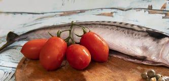 Caballa, tomates y alcaparras imagenes de archivo