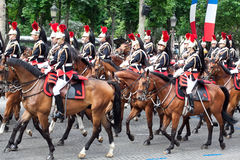 Caballería en el desfile militar en día de la república Fotos de archivo