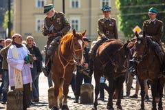 Caballería polaca durante la publicación anual del día nacional y festivo polaco Imagen de archivo