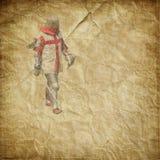 Caballero acorazado con la espada y el escudo - postal retra imagen de archivo libre de regalías