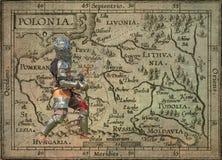 Caballero acorazado con la espada y el escudo - postal retra imágenes de archivo libres de regalías