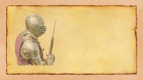 Caballero acorazado con la hacha de armas - postal retra Imagenes de archivo