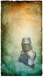 Caballero acorazado en casco con el escudo - postal retra imagen de archivo