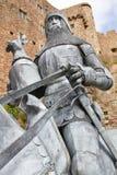 Caballero con el caballo delante de un castillo Fotos de archivo libres de regalías