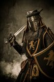 Caballero con la espada y el blindaje Fotos de archivo libres de regalías