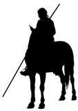 Caballero con una lanza a caballo Imagen de archivo libre de regalías