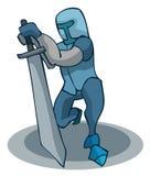 Caballero de arrodillamiento de la historieta con una espada Foto de archivo libre de regalías
